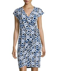 Maggy London Cap Sleeve Jersey Wrap Dress Blue Pattern