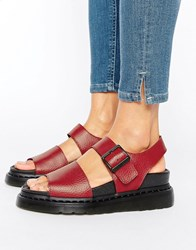 Dr. Martens Dr Romi Red Leather Strap Flat Sandals Dark Red Leather
