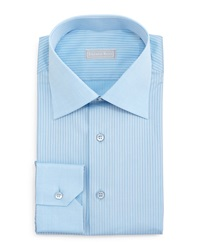 Stefano Ricci Contrast Collar Striped Dress Shirt Blue