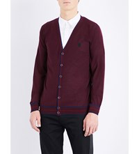 Alexander Mcqueen Skull Embroidered Cashmere Cardigan Bordeaux Blue Red