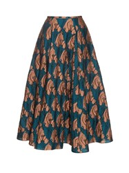 Emilia Wickstead Eleanor Fil Coupe Midi Skirt Blue Multi