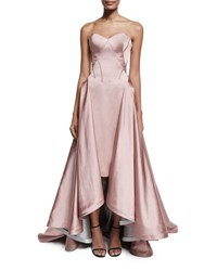 Zac Posen Strapless Pleated High Low Gown Rose