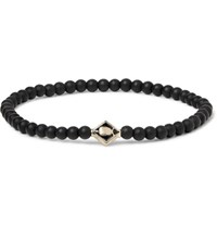 Luis Morais Gold Bead And Enamel Bracelet Black