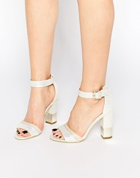 Paper Dolls Ankle Strap Block Heeled Sandals White