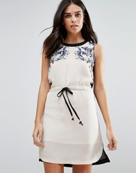 Jasmine Printed Shift Dress With Drawstring Waist Grey