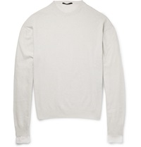 Haider Ackermann Silk Jersey Trimmed Wool And Cashmere Blend Sweater White