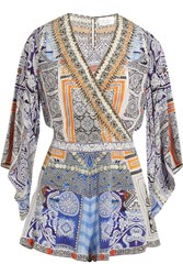 Camilla Crystal Embellished Printed Silk Crepe De Chine Playsuit Light Blue
