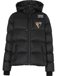 Burberry Logo Graphic Hooded Puffer Jacket Black