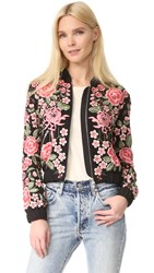 Needle And Thread Embroidery Rose Bomber Jacket Washed Black