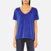 Samsoe And Samsoe Women's Siff V Neck T Shirt Surf The Web Blue