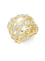 Saks Fifth Avenue White Stone Cage Ring Goldtone