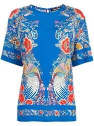 Roberto Cavalli Floral Embroidery Blouse Blue