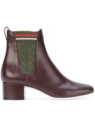 Fendi Fabric Panel Ankle Boots Women Leather Polyester 41 Brown