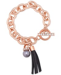 Guess Rose Gold Tone Pave And Gray Imitation Pearl Tassel Bracelet