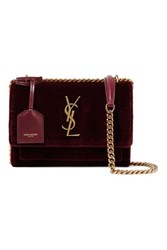 Saint Laurent Sunset Small Velvet Shoulder Bag Burgundy