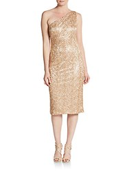 David Meister One Shoulder Sequined Sheath Dress Gold