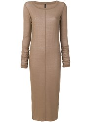Barbara I Gongini Fitted Sweater Dress Nude And Neutrals