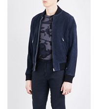 Sandro Stand Collar Suede Bomber Jacket Navy Blue