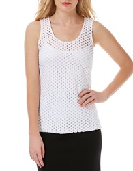 Laundry By Shelli Segal Perforated Tank Top White