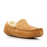 Ugg M Ascott Sheepskin Lined Suede Slipper Tan