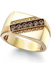 Macy's Men's Champagne And White Diamond Ring In 14K Gold 1 4 Ct. T.W.