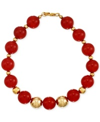 Signature Gold Carnelian Bead 10Mm Bracelet In 14K Gold