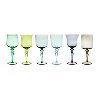 Bitossi Diseguale Worked Stamp Wine Glasses Set Of 6 Blue Green