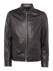 Hugo Boss Men's Nartimo Lambskin Leather Biker Jacket Black