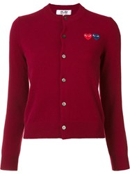 Comme Des Garcons Play Double Heart Cardigan Red