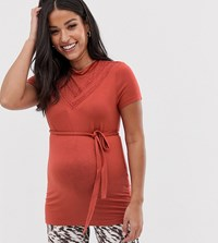Mamalicious Mama.Licious Maternity High Neck Lace Detail Jersey Top In Rust Red