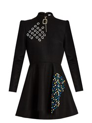 J.W.Anderson Embellished Wool Skater Dress Black