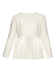 Adam By Adam Lippes Fringed Crochet Panel Sweater
