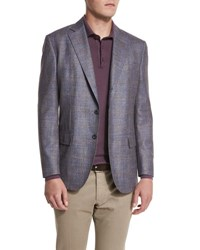 Loro Piana Check Pattern Cheviot Twill Jacket Blue Taupe Fancy Blue Taupe Fancy