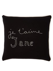 Bella Freud Je T'aime Jane Wool Blend Cushion Black