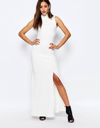 Missguided High Wrap Neck Detail Maxi Dress White
