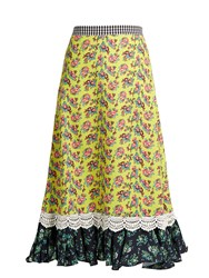 House Of Holland Floral Print Cady Midi Skirt Yellow Print