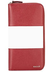 Bally Striped Zip Up Cardholder Red