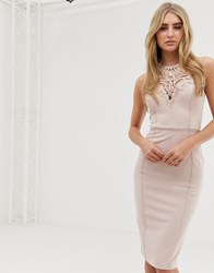 Lipsy Lace Detail High Neck Bodycon Dress In Pink Pink