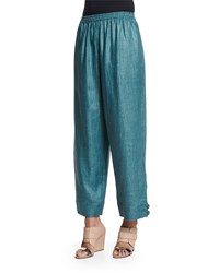 Eskandar Slimmer Japanese Button Cuff Linen Ankle Pants Teal Blue