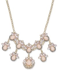 Inc International Concepts Gold Tone Stone And Crystal Teardrop Statement Necklace 18 3 Extender Created For Macy's Pink