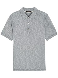 Jaeger Cotton Feeder Stripe Polo Shirt White Navy