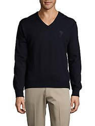 Versace Wool V Neck Solid Sweater Blue