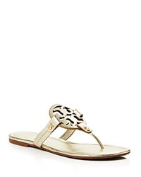 Tory Burch Miller Metallic Leather Thong Sandals Spark Gold