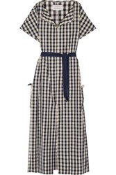 Solid And Striped Poppy Delevingne Gingham Cotton Linen Blend Poplin Dress Navy