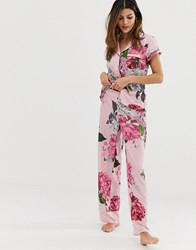 Ted Baker B By Palace Gardens Floral Print Pyjama Bottoms In Light Pink