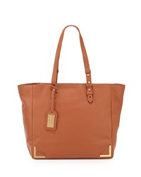Linda Soft Pebble Leather Tote Bag Cognac Badgley Mischka Red