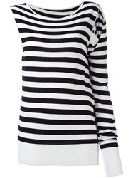 Maison Martin Margiela Mm6 Asymmetric Striped Sweatshirt Black