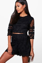 Boohoo Ray Crochet Crop And Short Co Ord Set Black