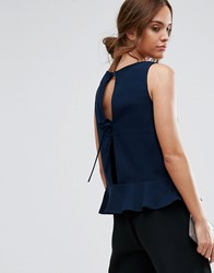 Selected Femme Pepla Top With Bow Back Navy Blazer