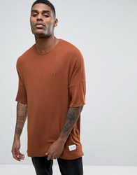 Criminal Damage Knitted T Shirt In Relaxed Fit Brown
